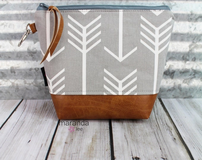 AVA Medium Clutch - Arrows with PU Leather  Cosmetic Archery Diaper bag Travel Make Up Zipper Pouch