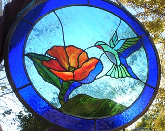 Stained Glass hummingbird shadow window suncatcher
