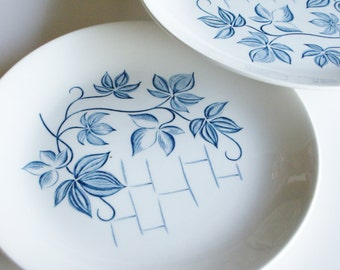 Vintage, Dinner Plates, Blue Ivy, Royal Knight, Ironstone, Set of 2, Blue and White, Mid Century, Dinnerware, Plates, MCM, Blueware