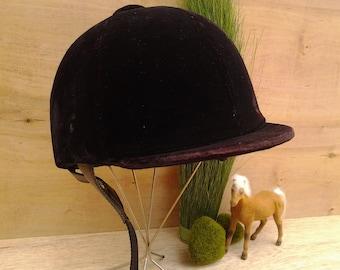 Vintage horse riding helmet - velvet helmet - equestrian decor - Olympian helmet - horse decor - riding gear - horse enthusiast