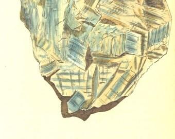 Vintage Mineralogy Illustration Digital Paper: Argilla cyanae