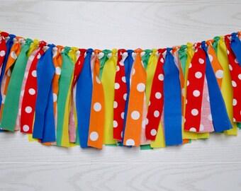 Boy Birthday banner - Boy 1st birthday banner - birthday banner - rag banner - UNO birthday - primary birthday banner - polka dot birthday
