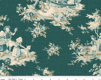 Toile De Juoy - Toile Main Green Teal by Emily Hayes from Riley Blake