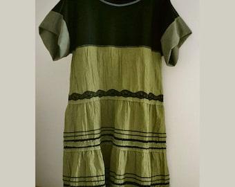 Women's dress kimono, olive dress boho, gypsy dress, loose dress, upcycled clothing, recycled artsy dress