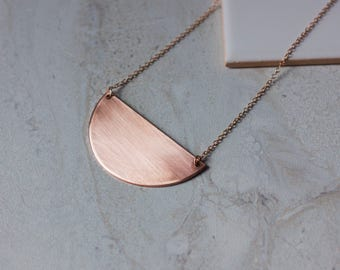Copper Crescent Necklace - Modern Handmade Jewellery