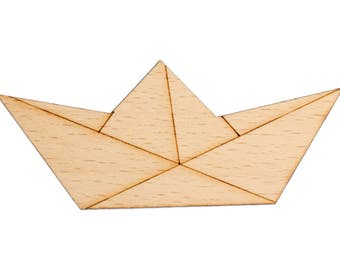 Paper Boat Brooch pin tie pin boat Abstract Origami Wood