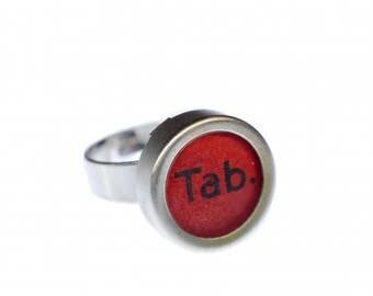 TAB red Key Ring Vintage Typewriter Keys Miniblings Upcycling