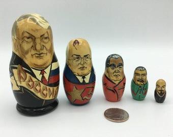 Set of Five Russian Leaders Nesting Dolls
