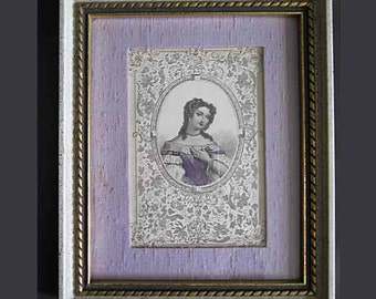 Antique Victorian Hand Tinted Engraving; Upper Torso Lady Purple Dress; Floral Filigree; Silk Dupioni Mat; Styled by Fleck Bros. Framed