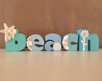 Hand Painted letters Beach with Seashells