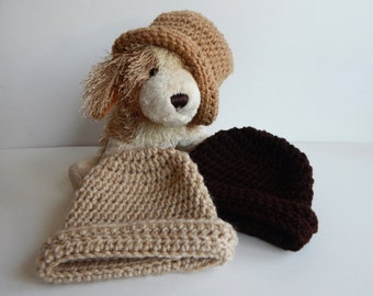 Baby Boy Winter Hat in Tan Beige and Brown - Set of 3 - Newborn Infant