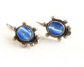 Sterling Silver Drop Earrings Blue Cats Eye Taxco Mexico Vintage Everyday Earrings Sterling Silver Mexican Jewelry