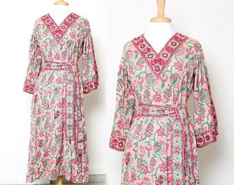 Vintage 70s Ramona Rull Caftan Dress Floral Print