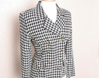 ON SALE Vintage 80s 90s Black White Houndstooth Hugo Buscati Jacket Coat