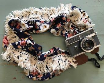 Navy blue floral boho style camera strap