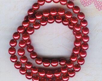 8mm Jablonex Red Czech Glass Pearl Beads, 75 pieces, 8mm Red Glass Pearl, Red Czech Glass, 8mm Ruby Pearl, 8mm Czech Glass, Cherry Red