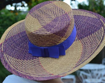 Purple Straw Wide Brimmed Hat with Purple Ribbon Sun Hat