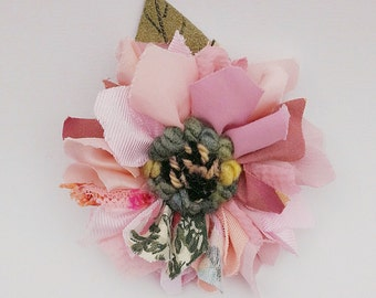 Fabric and leather corsage, brooch, pin on flower, lapel pin, rag rug flower, pale pink shades