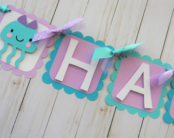 Under the Sea Birthday Banner, Under the Sea Party Banner, Under the Sea Banner, Ocean Animal Banner, Purple and Teal Under the Sea Party