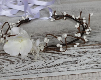White Berries and Hydrangea Floral Wreath, Berries floral crown, White floral crown, first communion crown