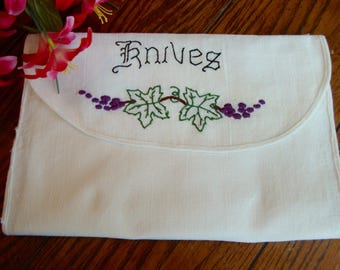 Pouch for Knives Vintage Linen Knife Pouch Embroidered Leaves and Grapes