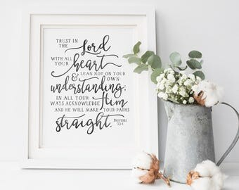 Trust In The Lord - Proverbs 3 - Bible Print - Christian Wall Art - Wall Decor - Scripture Decor - Bible Verse Decor - Modern Calligraphy