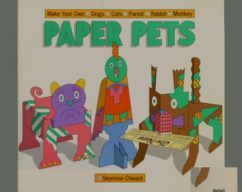 Seymour Chwast Paper Pets Graphic Design-Make Your Own Dogs Cats Parrot Rabbit Monkey