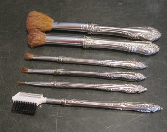 Set of Six Vintage Silver Plated Makeup Brushes