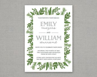 Botanical Wedding Invitation // Greenery // Floral // Border
