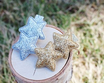 Gold and Silver Glitter Star on Alligator Hair Clip (Set of 2) - for all ages