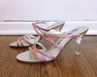Size 6 Pink Glitter Clear Heel Sandals