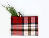 Holiday Zipper Pouch, Clutch, Jingle Bells, Bags & Purses, Handbags, Plaid, Flannel,Special Occasion, Christmas, Zipper Purse, Pencil Bag
