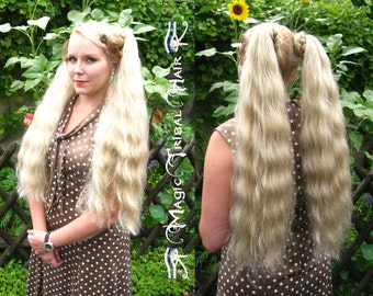CUSTOM pair of size S plus HAIR FALLS 22''/ 55 cm Braid Wedding extension Rockabilly Ponytail wig Tribal Fusion bellydance costume accessory