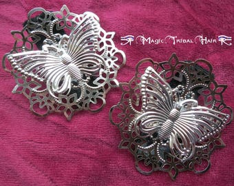 Gothic Butterfly Fascinator and Shoe Clip 2x silver GOTH HAIR JEWELRY Tribal Fusion Belly Dance costume accessory Boho vintage bag clip
