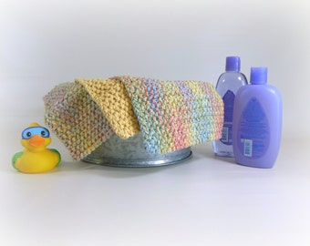 Double Knit Washcloths Set of 3 in Pastel Colors