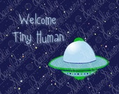 Blue Space Nursery Art Print, 8x10, New Baby, Welcome Tiny Human, Space Ship, Green Flying Saucer, Aliens