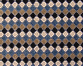 Evoque Blues Domino Retro Vintage Mod Sofa Upholstery Fabric Chenille Drapery Curtains