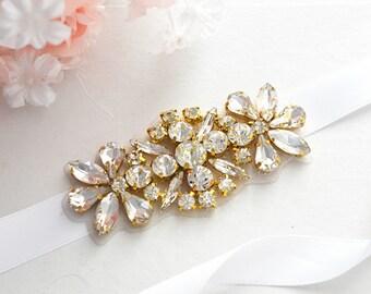 Gold Bridal Crystal, Pearl sash. Rhinestone Applique Wedding Belt, vintage sash belt