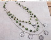 ON SALE: Green Freshwater Pearl, Canadian Jade Sterling Silver Necklace with PMC Metal Clay Charms