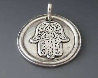 Fine Silver Hamsa Hand of God Charm / Protection Charm / Silver Happiness Pendant / Luck / Health/ Good Fortune / Graduation Gifts