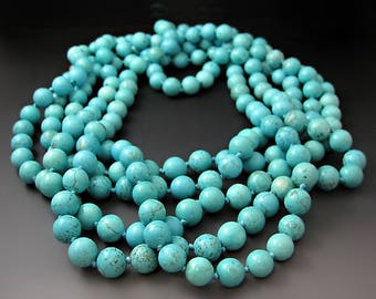 Long Turquoise Necklace / Blue Beads / Summer Jewelry Trends / Gifts for Her / Mother's Day Gift / Statement Necklace / December Birthstone
