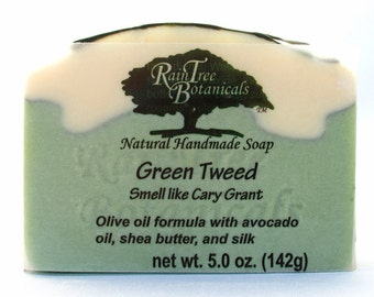 Green Tweed Cold Process Soap with Olive Oil, Avocado Oil and Shea Butter