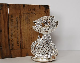 Cat Earring Tree, Vintage Silver Cat Jewelry Organizer
