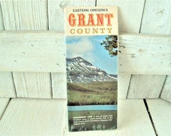 Vintage Oregon Map Grant County Souvenir Tourist Brochure Travel Pamphlet Folded Retro Graphics 1970s Free