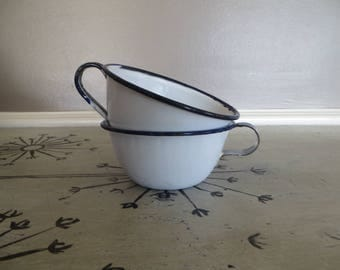 Set of 2 Enamelware Blue and White Cups Enamel Coffee Cups