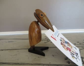 Mid Century Wooden Dodo Bird Note Holder Recipe Clip Recipe Holder Modern Wood Counterpoint In the Style of JV Orel Zoo-Line Era