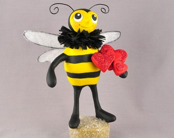 Valentine Bee Polymer Clay Figurine, Valentine's Day Bee