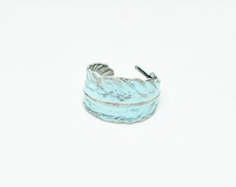 Mint Feather Ring - Light Blue Green Feather Wrap Ring - Silver Feather or Gold Feather - Trendy Feather Jewelry - Colored Feather Ring