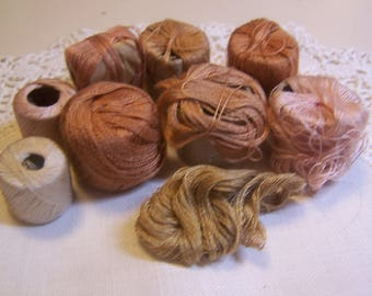 Vintage Collection of Darning or Mending Cotton Thread for Stockings, Lot of 9, Shades of beige & tan (small spools)