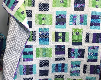 Navy Lime Green Purple and Turquoise Quilted Throw Blanket